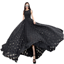 2016 New Women Summer Dress Elegant Ladies Vintage Black Organza Sleeveless Long Beach Maxi Dress Sundress Vestidos Femininos(China (Mainland))