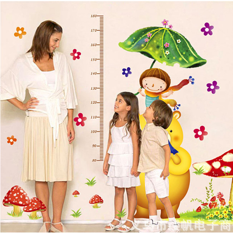 Wall Sticker Kids Height Chart Kindergarten Preschool girl room Plasted home Decor Cartoon Home Decoration Decals Art wallpaper(China (Mainland))