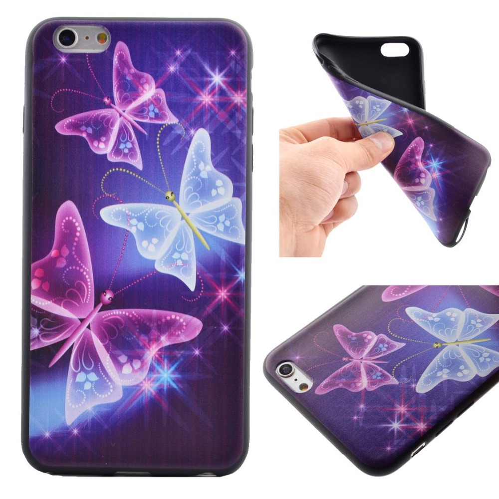 Fashion Skinning cool back cover clone black tone butterfly flower cat Soft TPU Gel Phone Case Cover for iphone 6 6s 6 6s plus(China (Mainland))