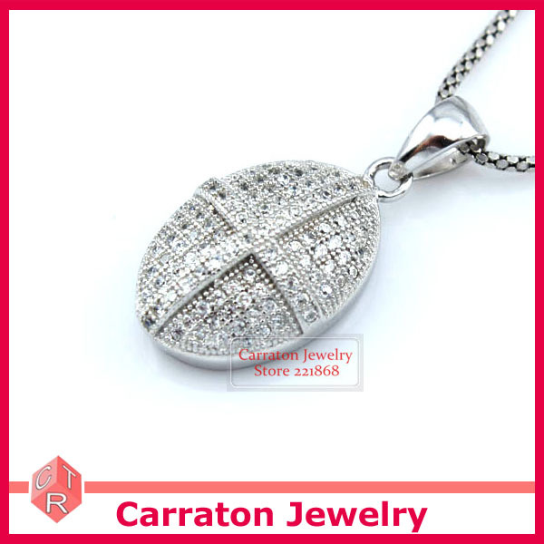Carraton PSCH9004 New Fashion Jewellery Micro Pave Set CZ Solid 925 Sterling Silver Oval Pendant with Cross(China (Mainland))