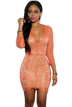 Adogirl New 2016 Women Lace Nude Mini Dress Red Black Long Sleeve Deep V-Neck Sexy Ladies Bodycon Dresses For Ladies Clothing