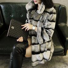 2015 women's real chinchilla dyed rex rabbit fur coat(China (Mainland))