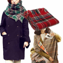 2016 Spring Women's Two-Sided Tartan Scarf Women Long Shawl Wrap Stole Plaid Tassels Knitting Scarfs Lady Echarpe Scarf Winter