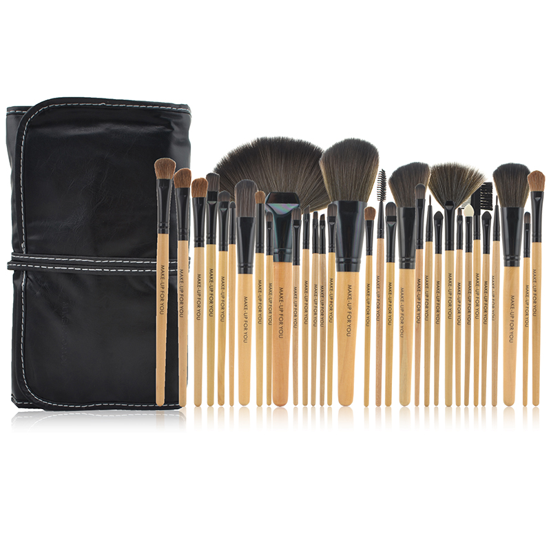 Hot Sale Natural Color 32pcs Makeup Brushes Set For Foundation Powder Eyeliner Lip Brush With PU Leather Case(China (Mainland))