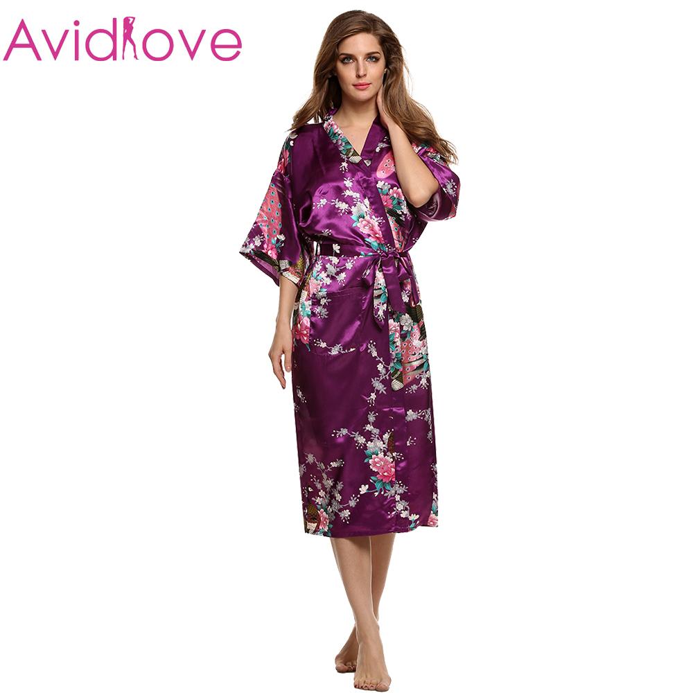 Women Satin Kimono Robe Sleepwear Silk Pajama Casual Bathrobe Long Sexy Nightgown Dressing Gown Night Robes 8 Colors(China (Mainland))