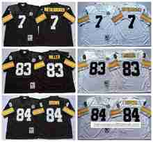 Pittsburgh Steelers Ben Roethlisberger Heath Miller Antonio Brown Throwback for mens(China (Mainland))