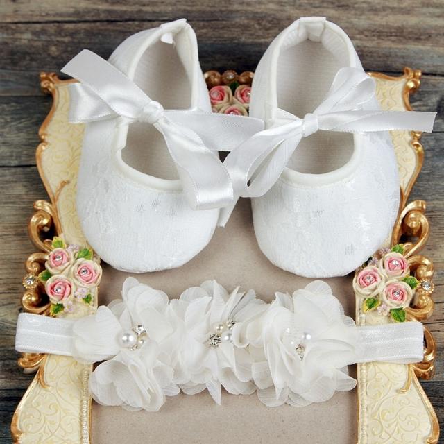 Девочка атласные кружева малыш обуви Крещение Крещение младенцев обувь Оголовье набор, ...