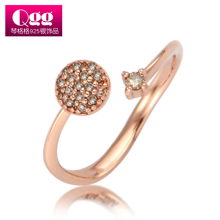 925 Sterling Silver Rings CZ for Women Wedding Engagement Brand Rose Gold Pla