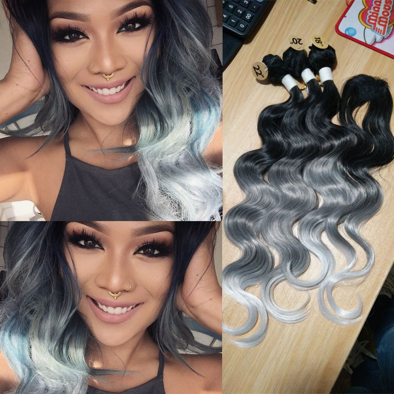 Synthetic Hair Weave With Closure 3 Tone Ombre Grey Body Wave Hair Weave Bundles 3pcs Synthetic Hair Extension With one Closure(China (Mainland))
