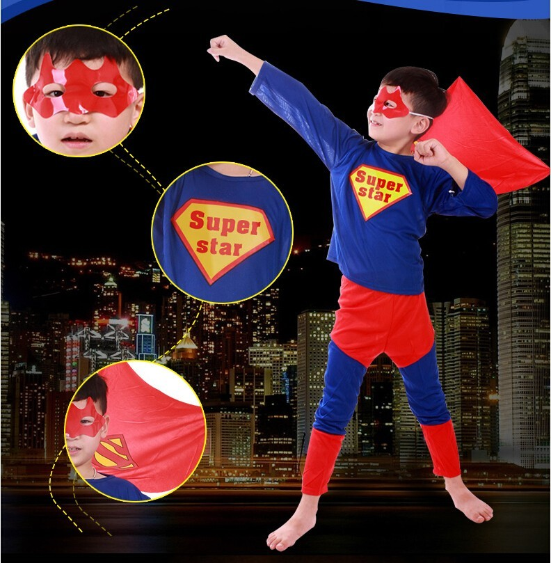 50PCS/LOT Kid's Super Hero Children Theme Party Costume Spiderman Batman Superman Clothing Halloween Dress Up Cosplay Costume