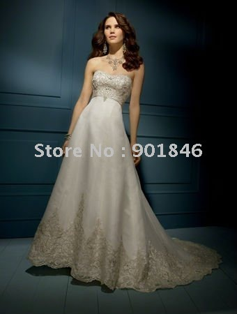 Free shipping Custom Made 2012 New Arrival Beautiful Satin Ruffle Hotsale Wedding Dress