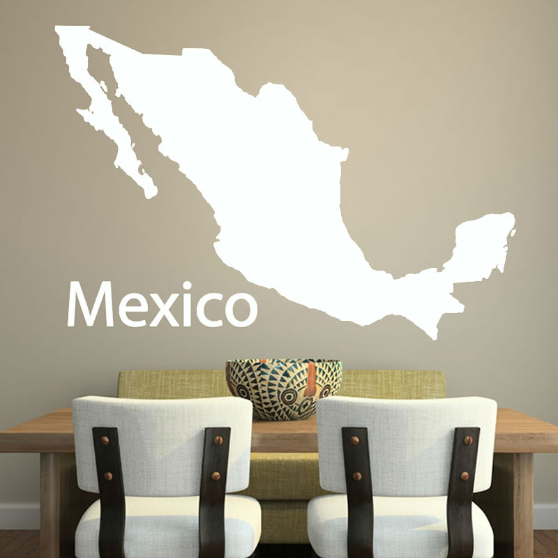Cheapest Simple Outline Mexico Map Wall Decal Vinyl Customized Colors Adhesive Home Decor Wall Sticker