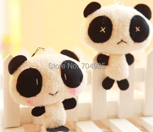 Kawaii Lover 1Pair Panda TOY Plush DOLL Phone Charm Bag Pendant TOY Keychain TOY DOLL ; Wedding Gift Decor Bouquet TOY DOLL(China (Mainland))