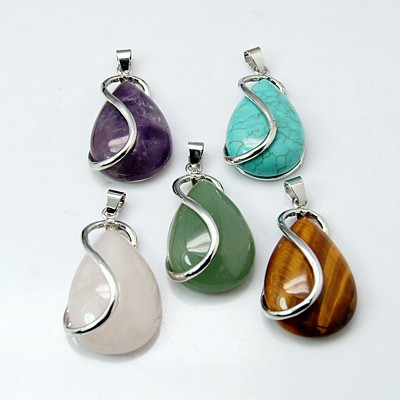 precious stone Pendants, Brass Findings, Mixed Stone, Drop, Platinum Color, 42x21x10mm, Hole: 4x5mm - PandaHall LTD's store