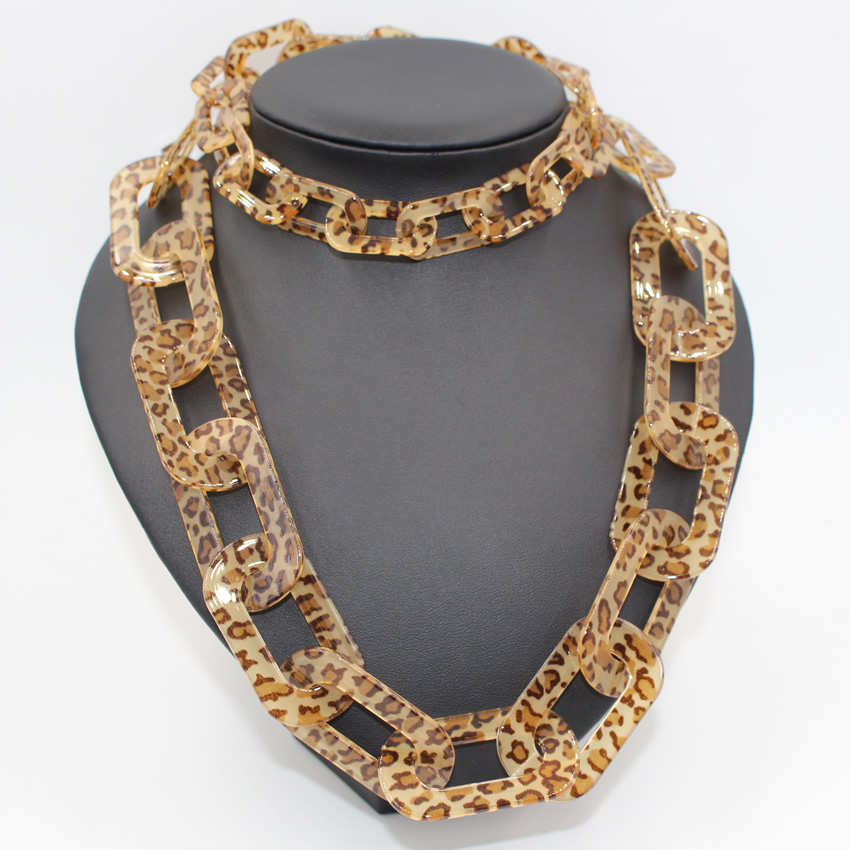 maxi love 2016 Trendy Necklaces Pendants Link Chain Collar Long Plated Leopard Bling Fashion Necklace statement necklace