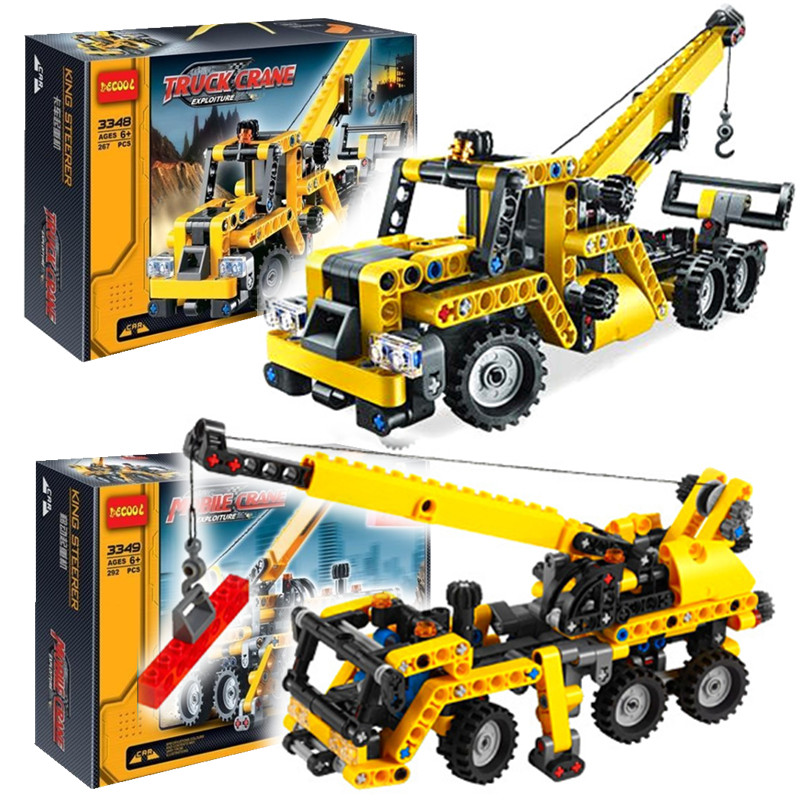 2016 Decool 3348/3349 High TTECHNIC MINI MOBILE CRANE TOW TRUCK VEHICLE Model Building Block Toys For Children Birthday Gifts(China (Mainland))