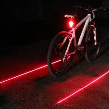 Прокат Светодиодные Задние Фонари Безопасности Предупреждение Свет 5 LED + 2 Лазерная Ночь Горный Велосипед Задние Свет Лампы Велосипед Света EA14