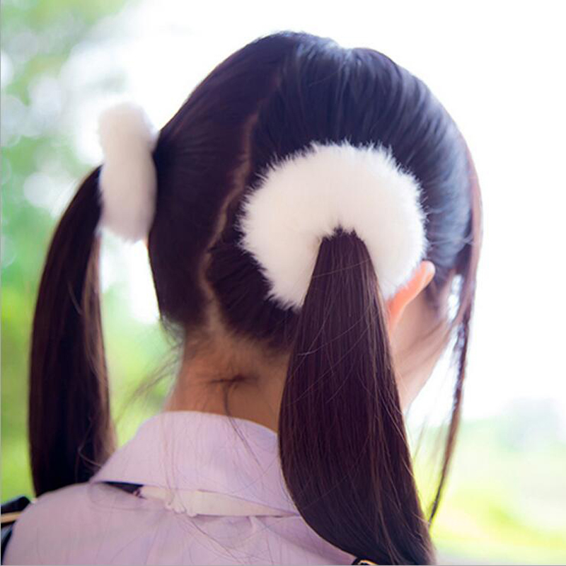 Brand New 2Pcs/Lot Cute Korean Style Solid Plush Hair Rope,HOT Lovely Fashion Elastic Hairbands,Women Hair Accessories XHH04457(China (Mainland))