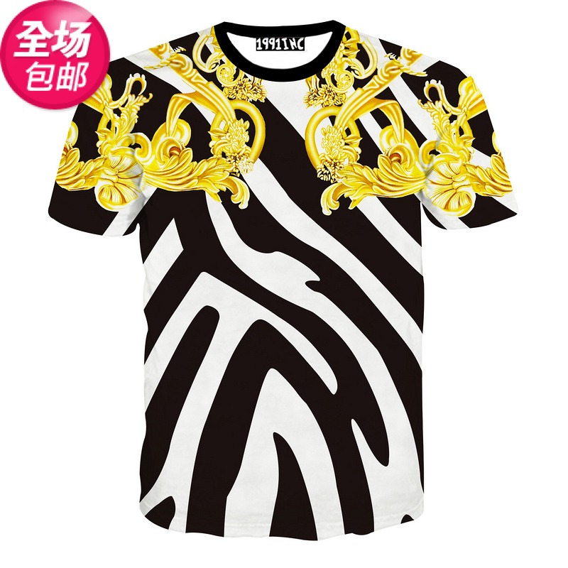 3d Male Half Sleeve T-shirt Summer Men And Women's Cotton Clothes Day Line 3d Creative Three-dimensional Pattern Purchasing Tide(China (Mainland))
