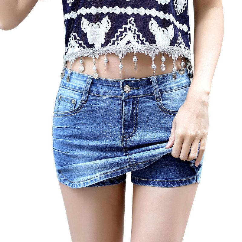 summer fashion women denim shorts skirts Casual slim mid waist stretch jeans Prevent exposure Plus size 26-32 M221 - Lu MS store