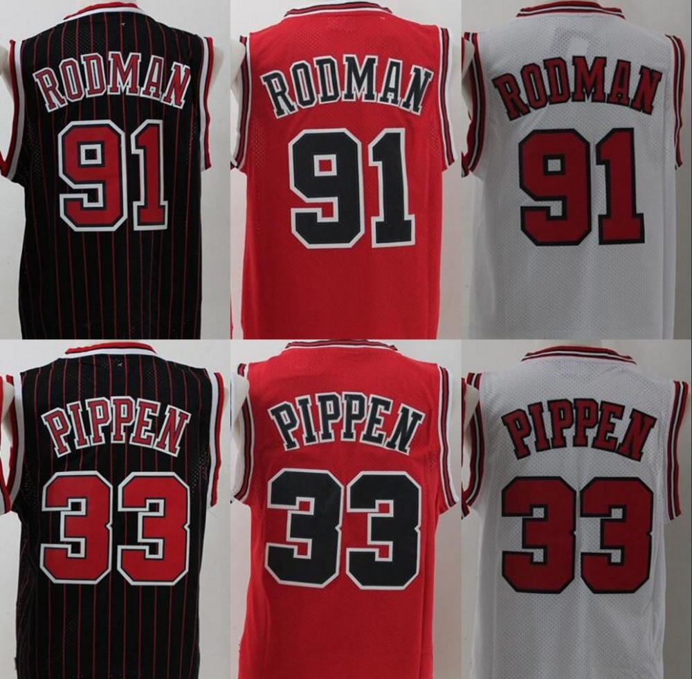 2016 New Men's 91 dennis rodman jersey,White Red Black 33 scottie pippen retro jerseys,100% stitch throwback basketball jersey(China (Mainland))