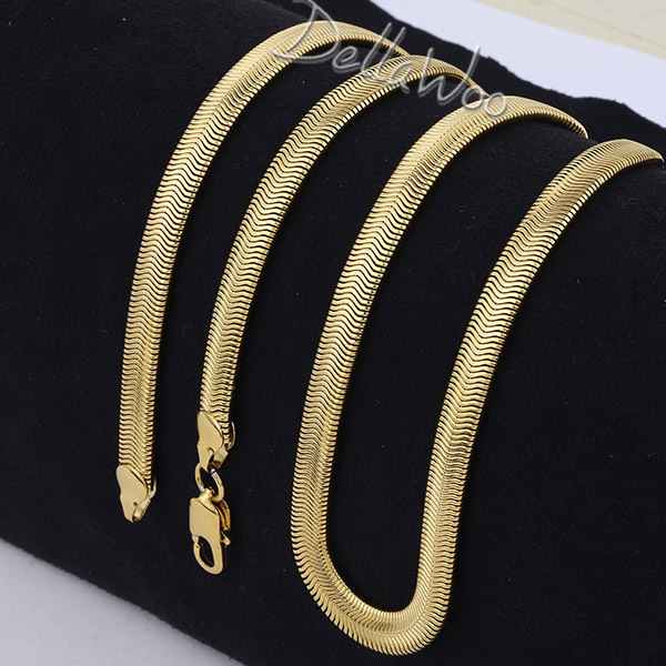 3/6mm Yellow Rose Gold Filled SMOOTH Snake HERRINGBONE FLEXIBLE Chain Necklace GF Mens Womens Necklace Jewelry DNL150(China (Mainland))