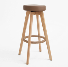 Wooden Swivel Bar Stools Modern Natural Finish Round Leather Foam Seat Backless Indoor Commerical Bar Furniture Chair   29-Inch(China (Mainland))
