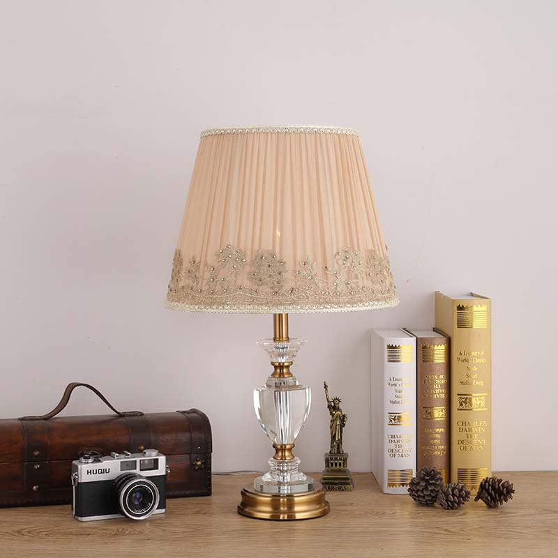 Фотография Modern Crystal Table Light Fabric Lampshade Living Room Bedroom Bedside Table Lamp Home Lighting Antique Brass Iron E27 110-220V
