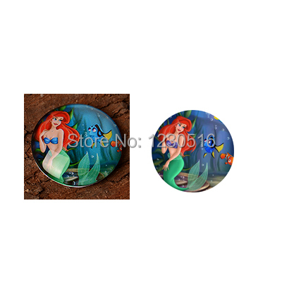 10mm~25mm digital bottle cap image The Little Mermaid Round Glass Cabochons for and Phone Chain Accessaries 60 pcs/lot(China (Mainland))