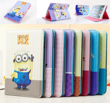 Arrival Cute Cartoon Despicable Me Minion Flip Wallet Card Stand Leather Cases Smart Cover For Apple Mini 2/3 Ipad Holster Items(China (Mainland))
