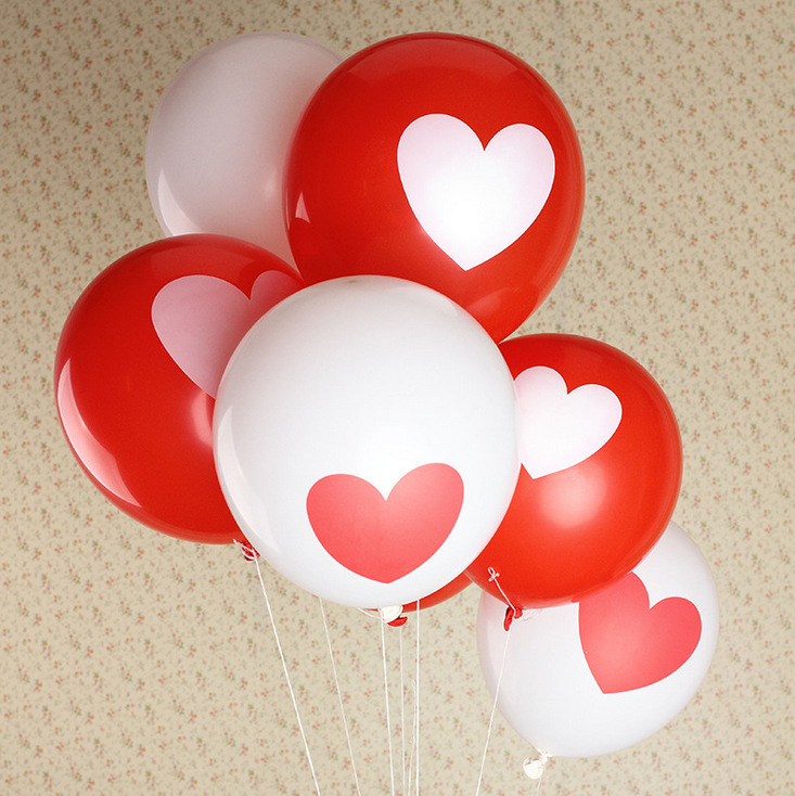 Special thick 12-inch print valentine heart balloon wedding balloon courtship courtship confession 10 / per pack(China (Mainland))