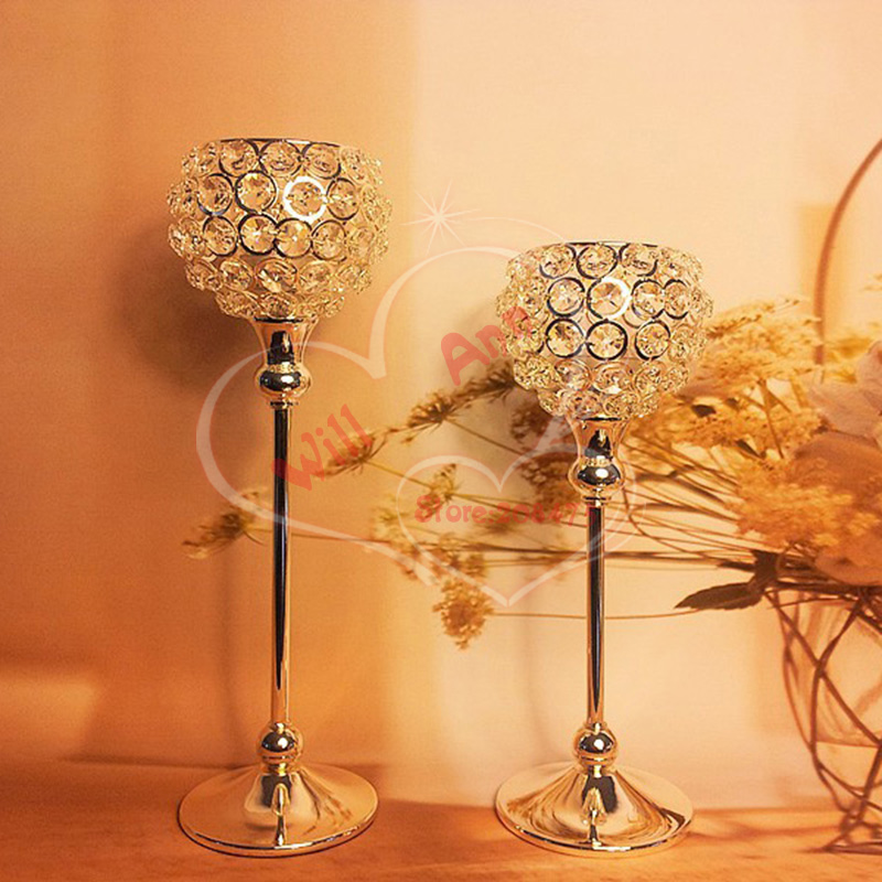 Free Shipping Wedding Decoration Floor Metal Silver Plated Candle Holder With Crystal For Showpiece China
