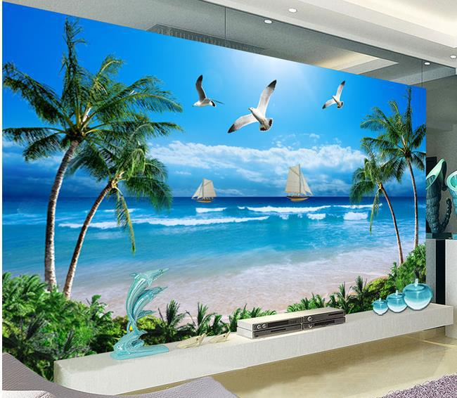 wall sticker beach landscape wallpaper mural wallpapers 3d high quality the spectacular landscapes mural wallpaper
