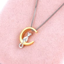 Buy 2017 Fashion Moon Cat Vintage Choker Necklace Pendant Jewelry Accessories Men Women Chain Collar Simple Lovely Romantic Style for $2.40 in AliExpress store