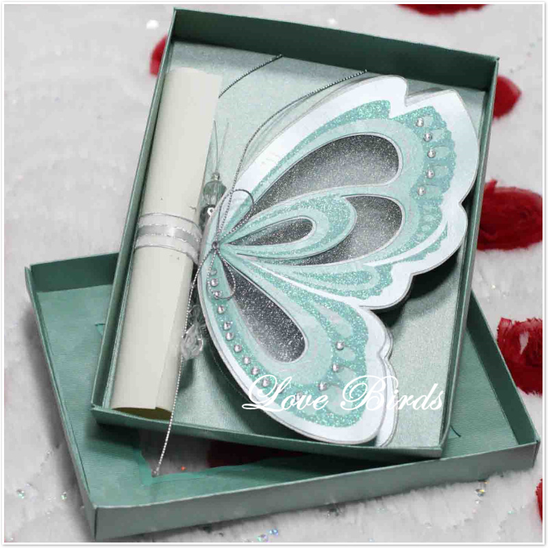 Baby Shower Decorations Card Factory ~ Luxury paper box blue butterfly scroll wedding invitations