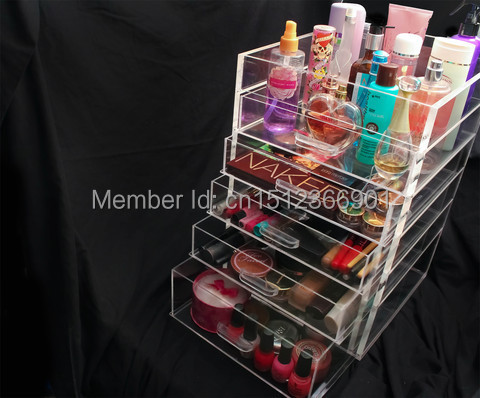 Free Shipping New Large The Container Store Makeup Jewelry Box Gift Box Acrylic Makeup Organizer(China (Mainland))