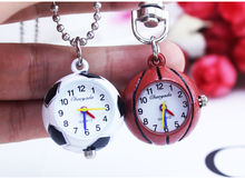 10pcs/lot fashion Quartz Ball Glass Pocket Watch Necklace Chain children football basketball golf ball gift pocket watch(China (Mainland))