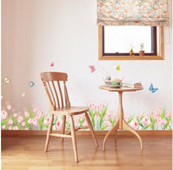 Стены тюльпан цветок бабочки гостиная спальня коридор тв фон наклейки на стены обои 7093