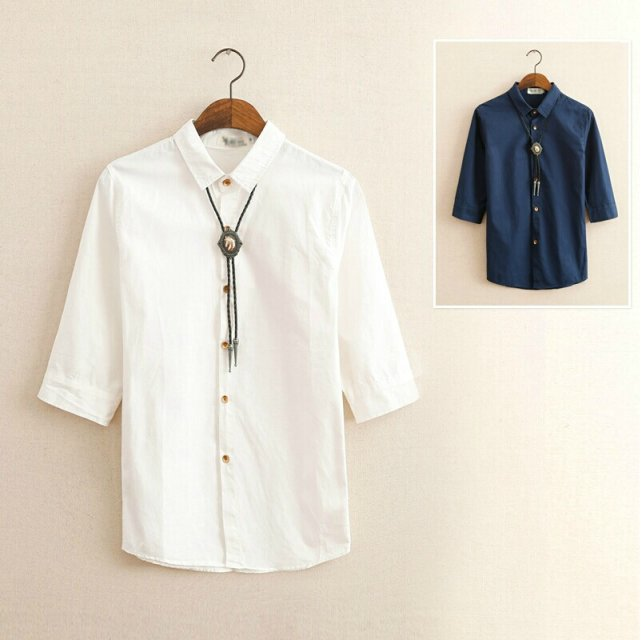 2015 summer seven linen shirt sleeve male slim short sleeved white shirt pure flax linen casual menswear(China (Mainland))