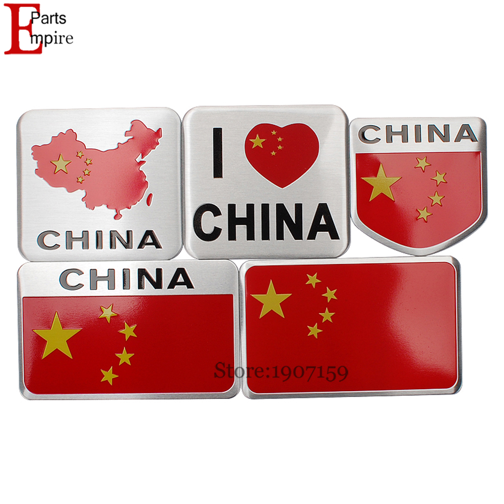 Aluminium Alloy Car Sticker For Chinese China Flag Logo Emblem Decal Auto Badge For Lexus Jeep Ford Opel Peugeot Toyota Dodge VW(China (Mainland))