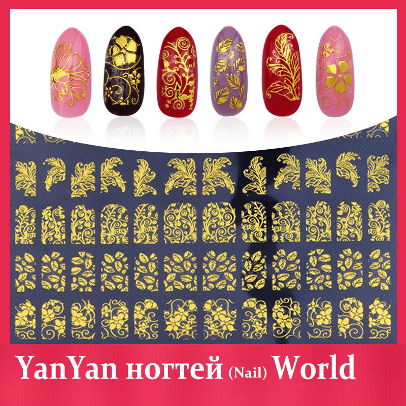 New Gold 3D Nail Stickers,108pcs/sheet Metallic Adesivos Mix Designs Flowers Nail Decal,Beauty Creative Nail Art Decoration(China (Mainland))