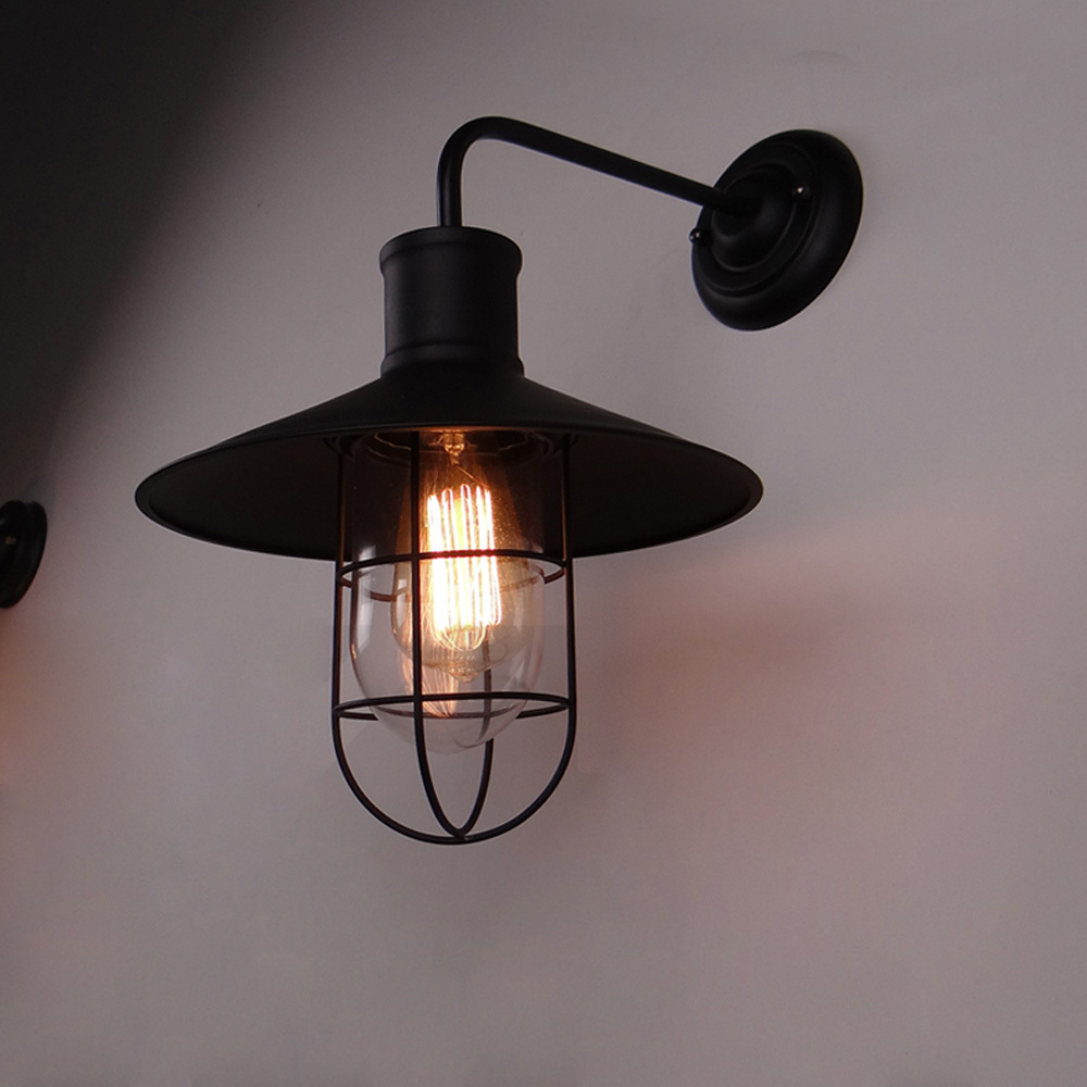 Wall Lights Lampshades : Classical Black Loft Iron Wall Lighting Antique Industrial America Country Wall Light Retro Home ...