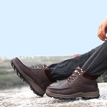 Buy 2016 male cotton-padded shoes plus velvet winter snow ankle boots plus size wool 45 46 thermal 47 48 genuine leather for $57.00 in AliExpress store