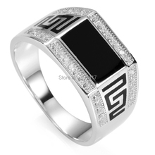 Fashion White Cubic Zirconia and Black  Resin Wholesale 925 sterling Silver Ring For Men  R--3778 sz#8 9 10 11(China (Mainland))