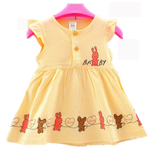 Free shipping summer baby clothing 2 color cartoon cotton baby vest dress sleeveless baby girl dress