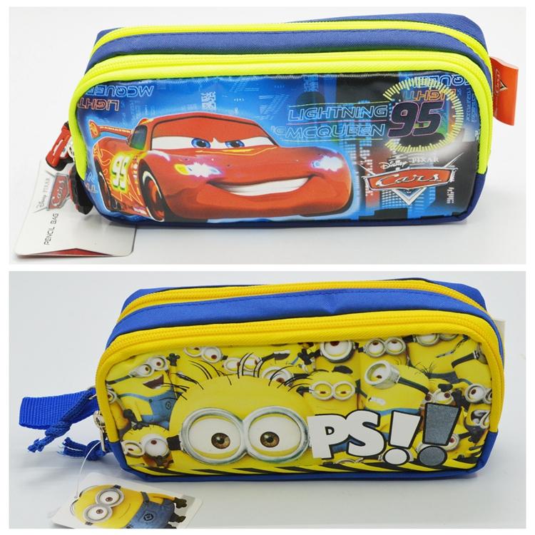 2015 New Cute Minions Cars Girls Cartoon Pencil Cases Kawaii School Suppliers Pencilcase Stationery Pen Pencil Bags B913-914(China (Mainland))