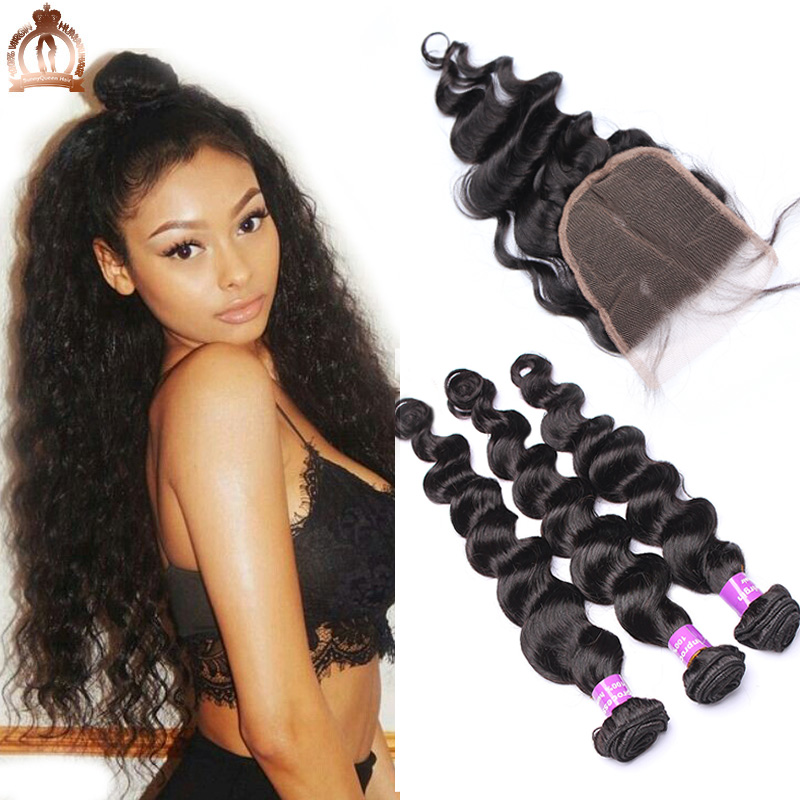 4Pcs Brazilian Loose Wave With Closure 5x5 Bundles With Closure 7A Brazilian Virgin Hair With Closure Rosa Queen Hair Products<br><br>Aliexpress