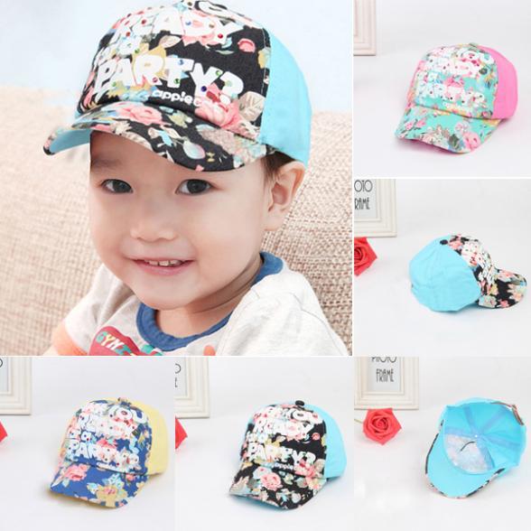 Kids Girls Boy Floral Print Baseball Toddlers Baby Hat Flat Baseball Caps(China (Mainland))