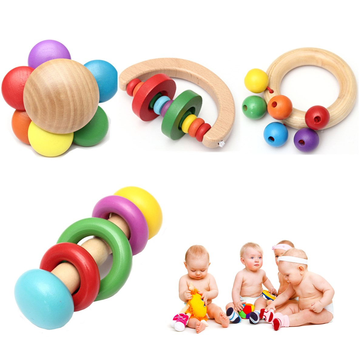 Instrument Development Toys Musical Education Percussion High Quality Funny Design Kid Baby Wooden Bell Rattle Toy Handbell(China (Mainland))