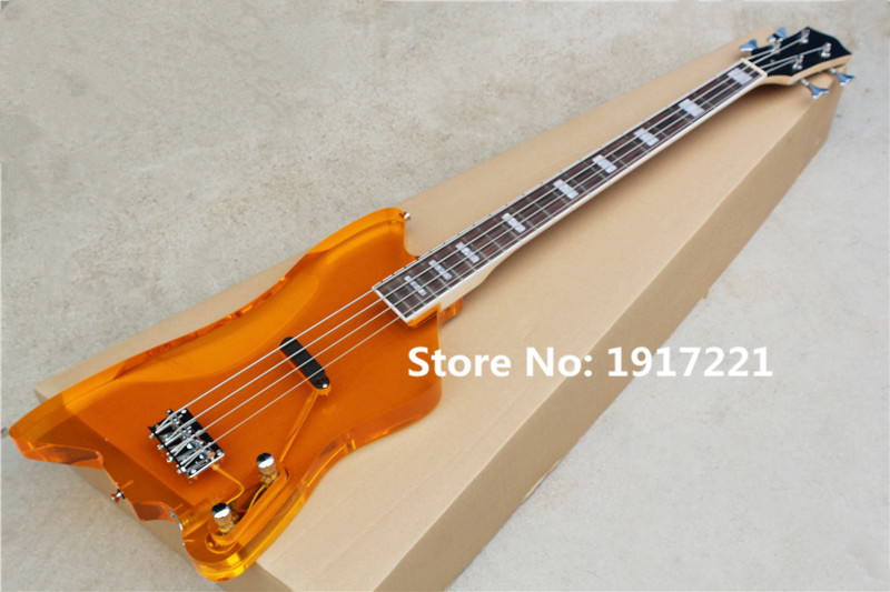 Unusual Shaped 4-String Orange Electric Bass with Rosewood Fretboard,Acrylic Glass Body,Maple Neck and Can be Customized(China (Mainland))